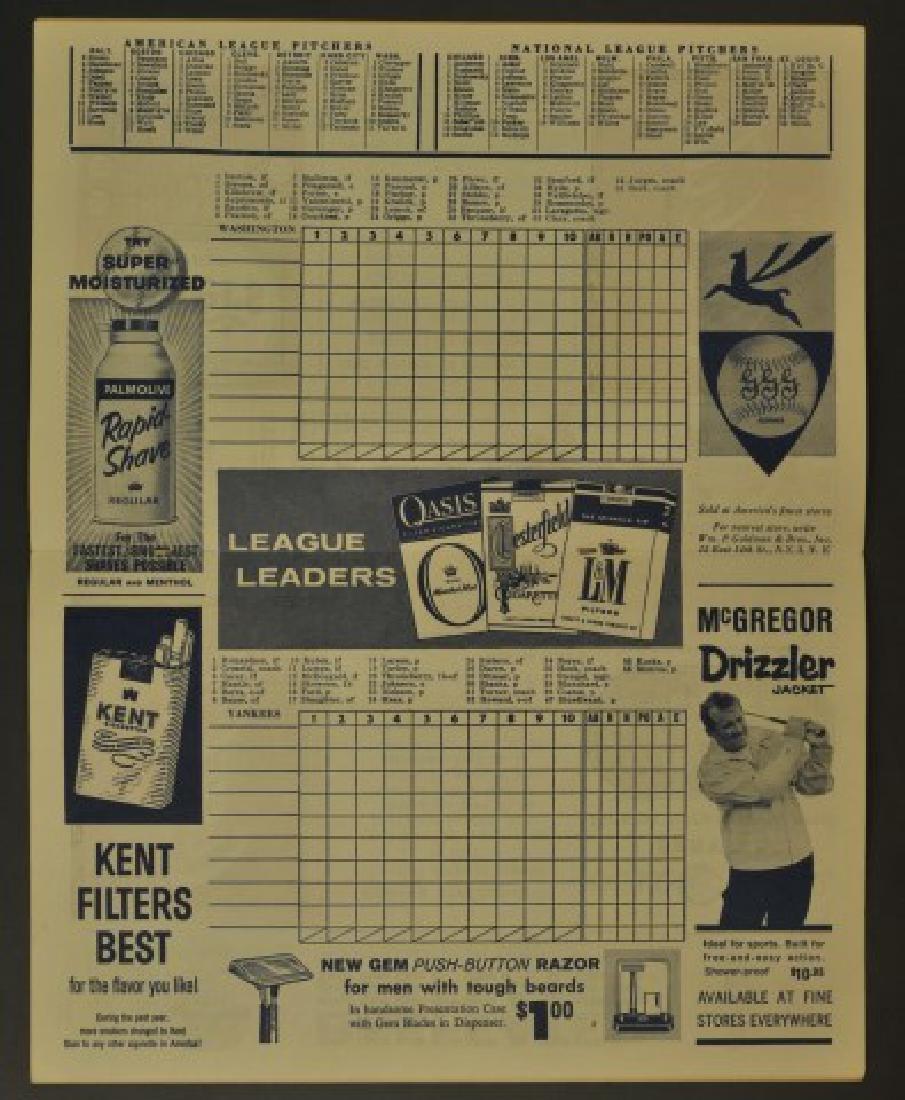 1959 Yankees Official Program & Scorecard - 2