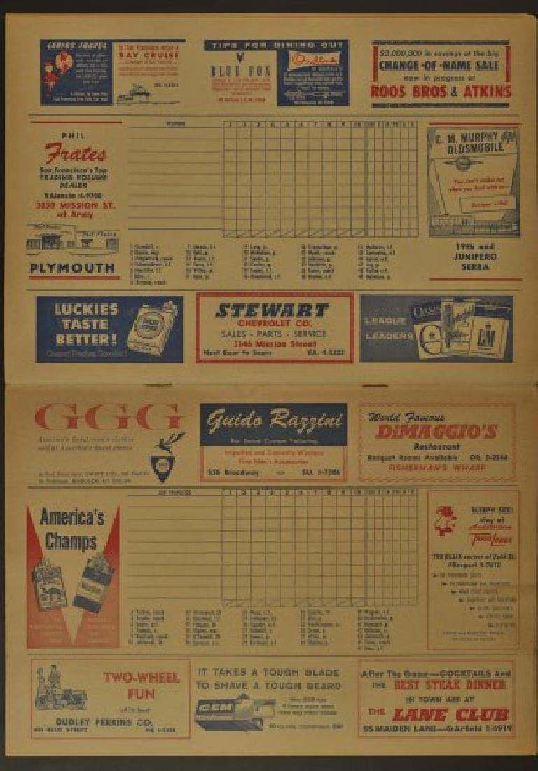 1958 Giants Official Scorecard - 2