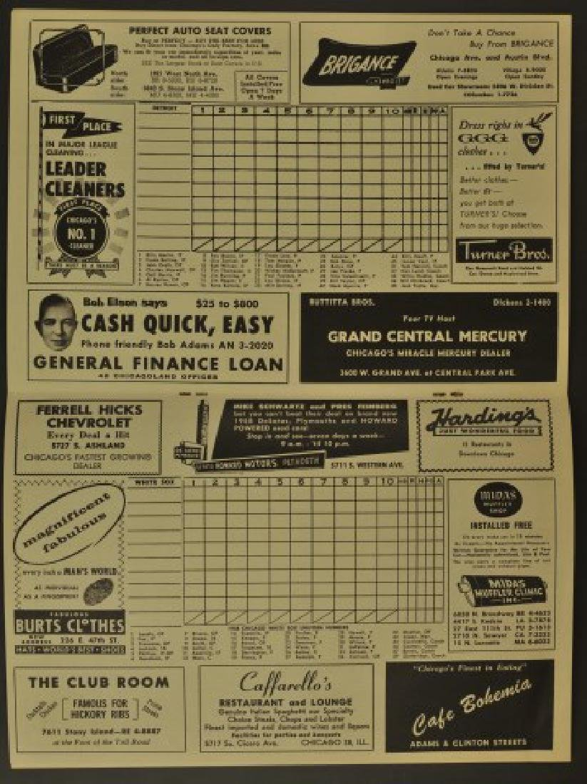 1958 White Sox Official Scorebook - 2