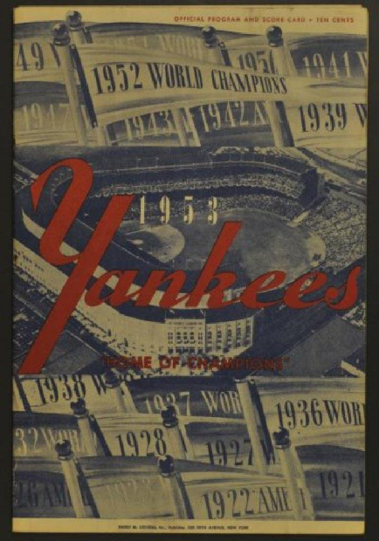 1953 Yankees Official Program & Scorecard