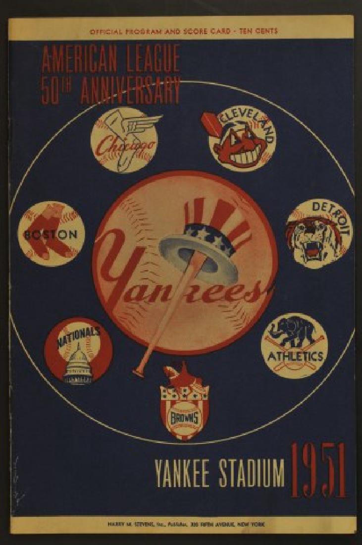 1951 Yankees Official Program & Scorecard
