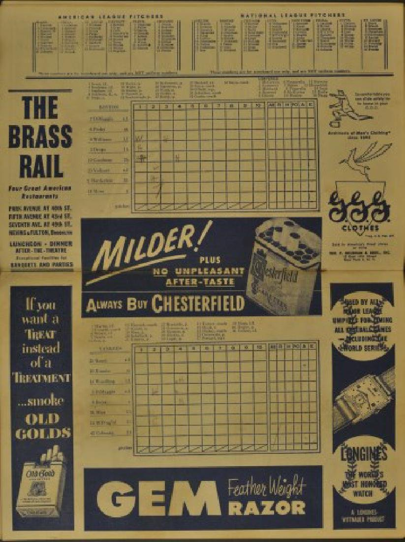 1951 Yankees Official Program & Scorecard - 2