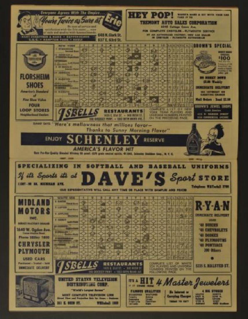1948 White Sox Official Scorebook - 2