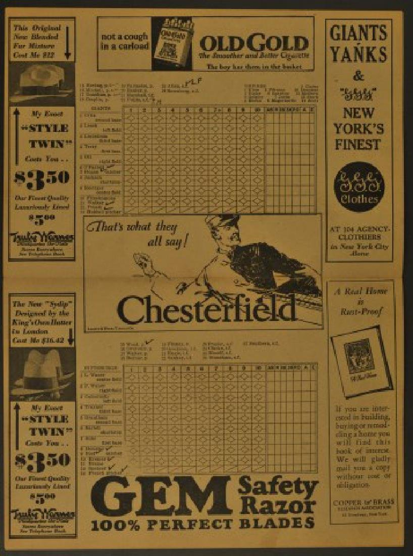 1930 NY Giants Official Scorecard - 2