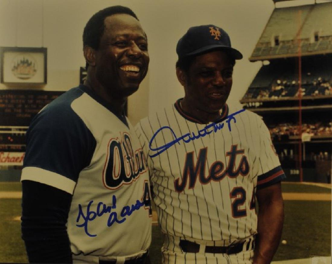Signed Hank Aaron & Willie Mays Photo