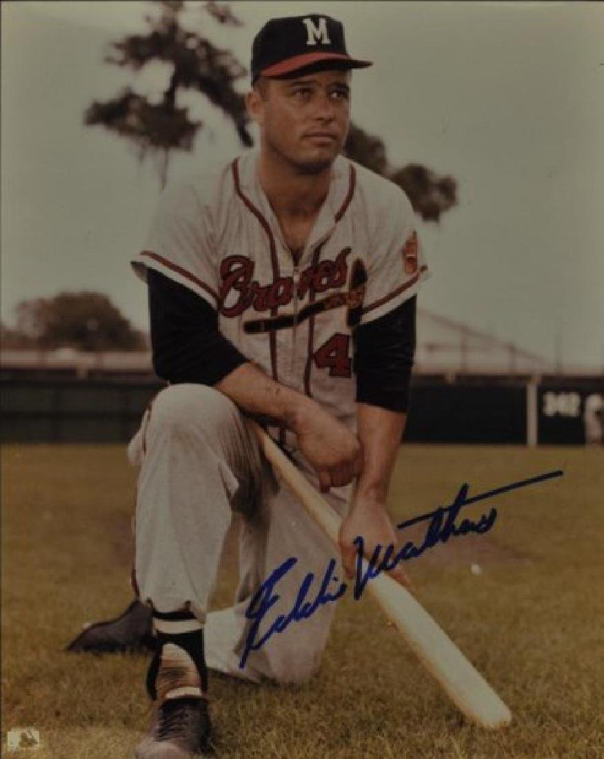 Signed Eddie Mathews Photo