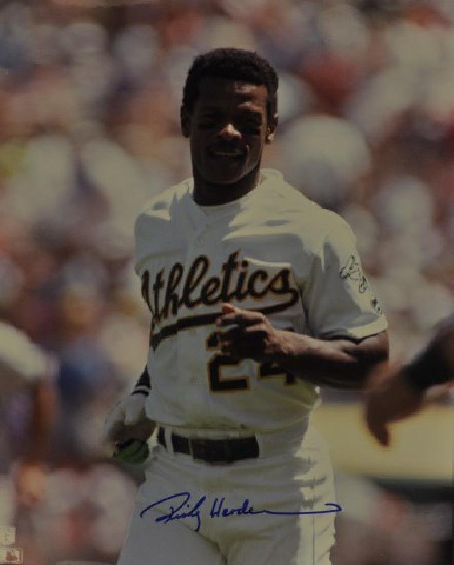 Signed Rickey Henderson Photo