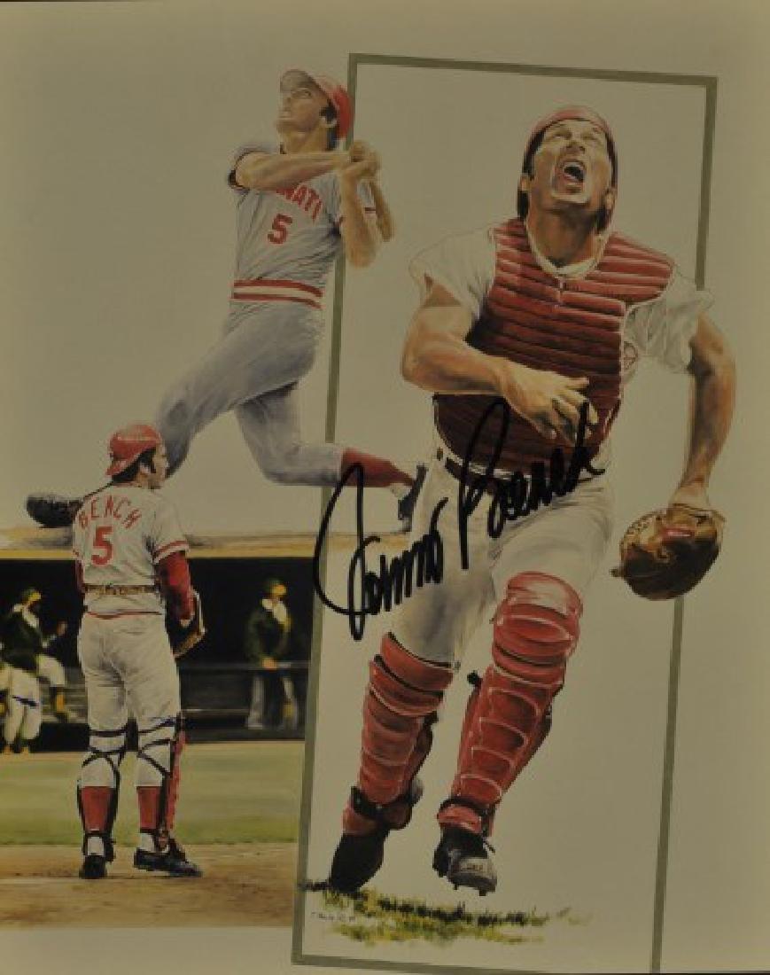 Signed Johnny Bench Photo
