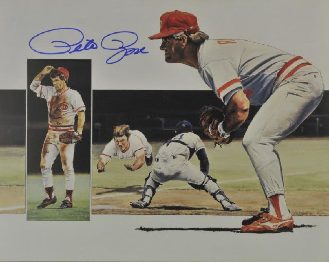 Signed Pete Rose Photo w/ Article