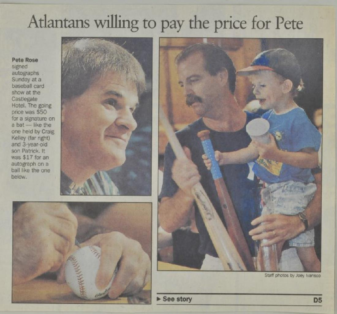 Signed Pete Rose Photo w/ Article - 2