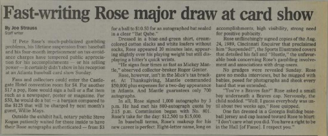 Signed Pete Rose Photo w/ Article - 3