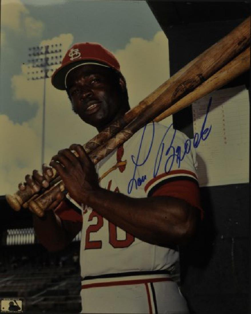 Signed Lou Brock Photo