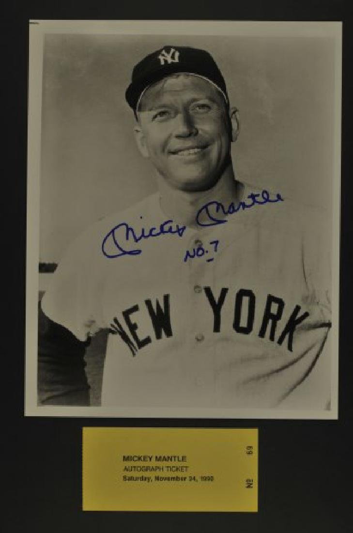Signed Mickey Mantle No. 7 Photo w/ Ticket