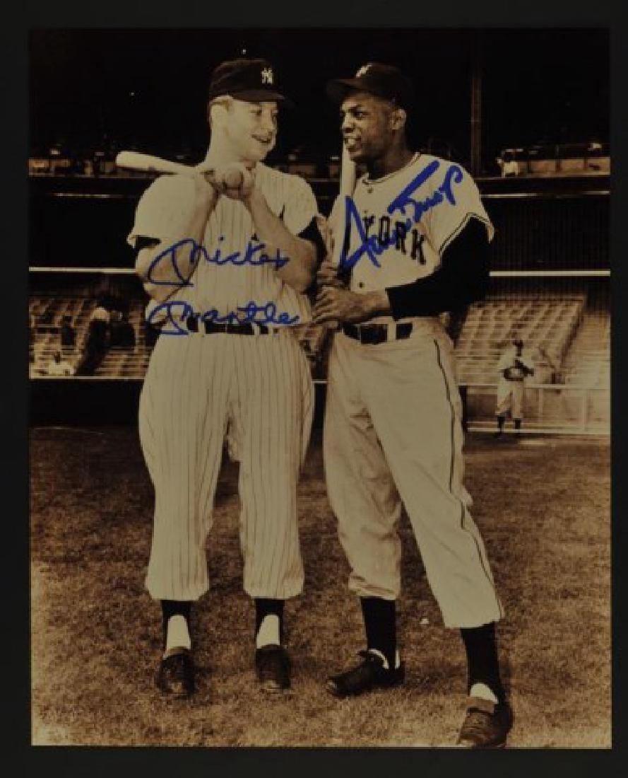 Signed Mickey Mantle & Willie Mays Photo