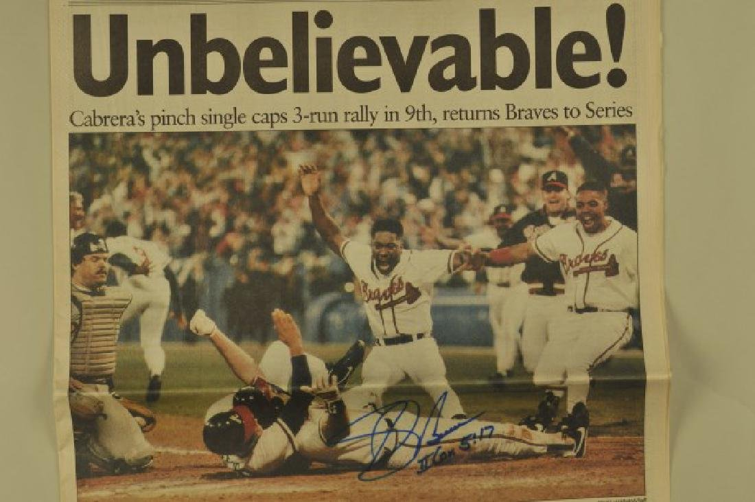 3 '92 Signed Sid Bream Atl Jrnls & Picture Cards - 2