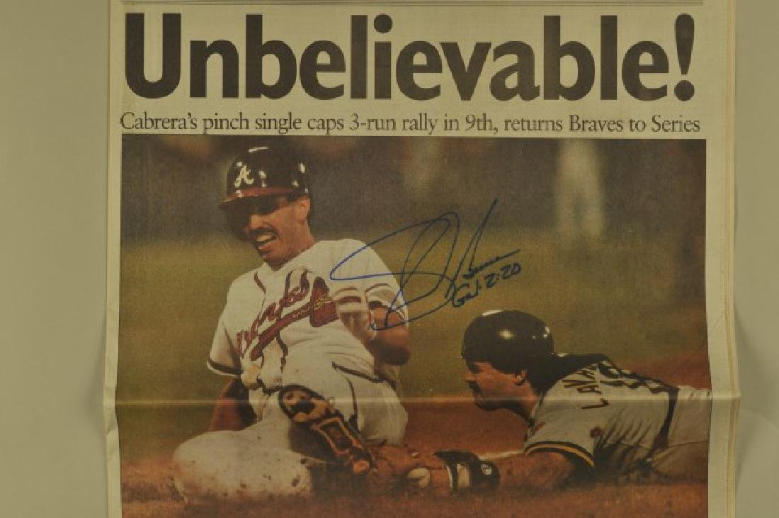 3 '92 Signed Sid Bream Atl Jrnls & Picture Cards - 3