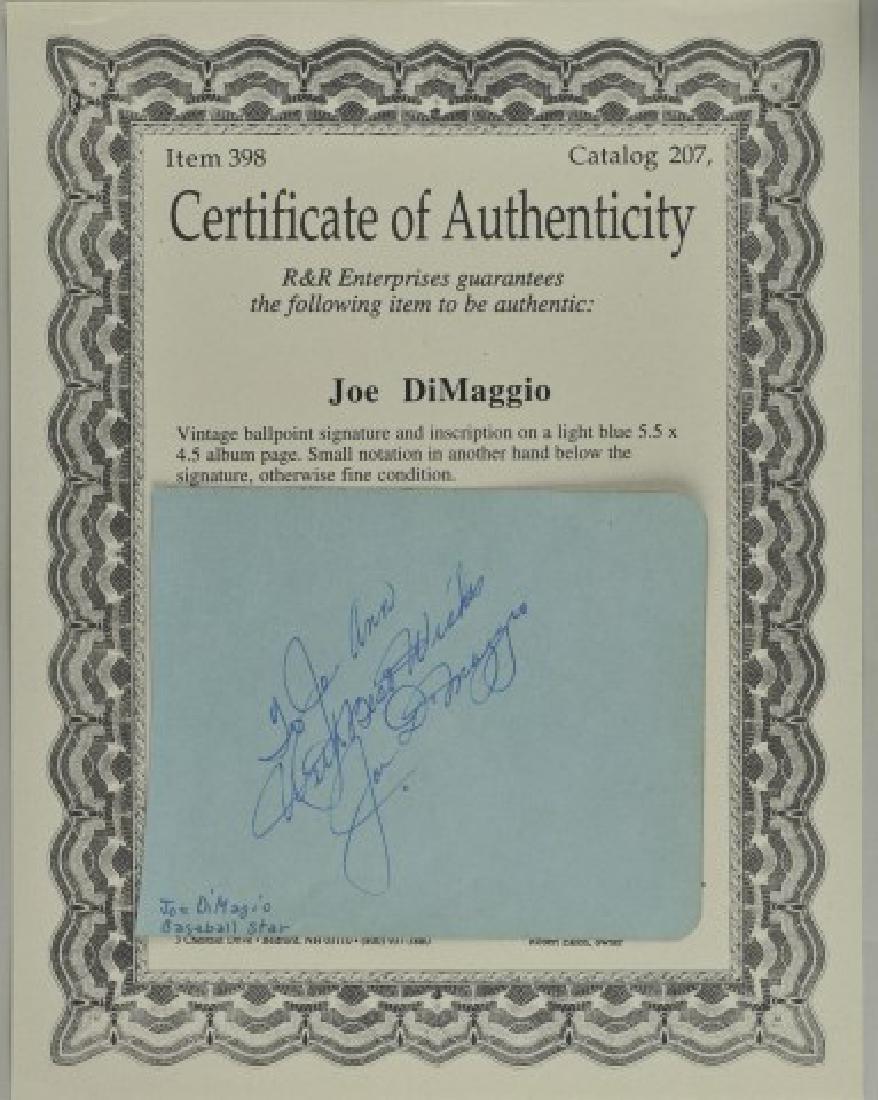 Joe Dimaggio Signature w/ COA & Photo