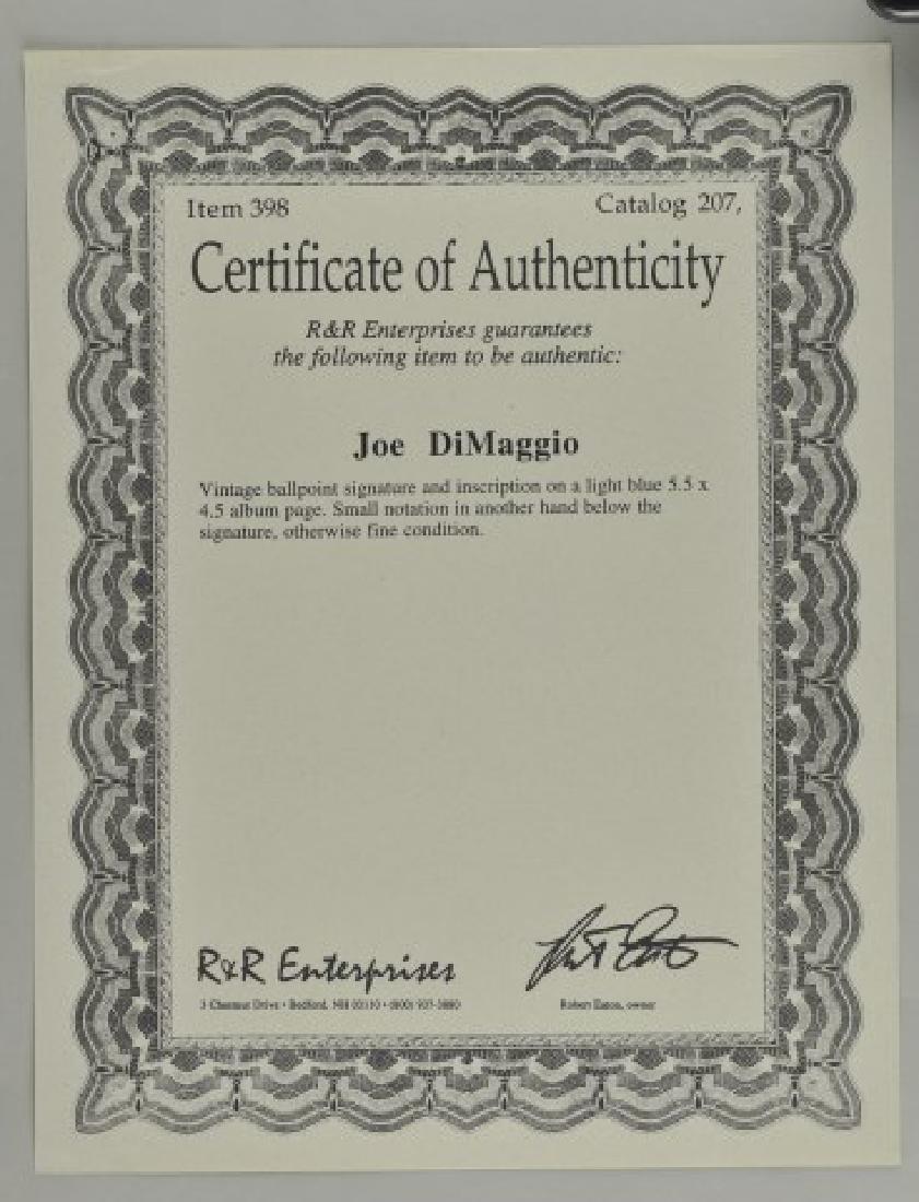 Joe Dimaggio Signature w/ COA & Photo - 2