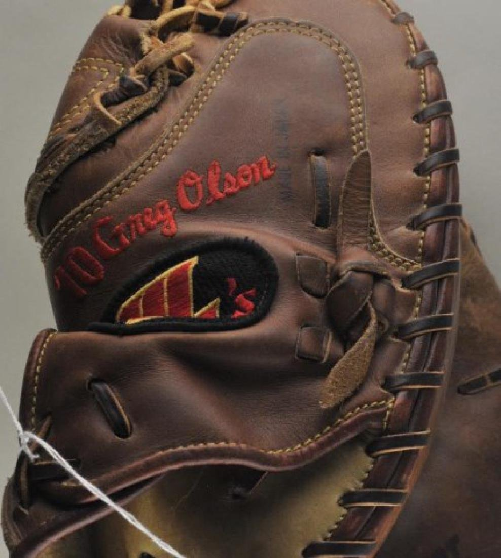 Signed Game Used Greg Olson Baseball Glove - 3