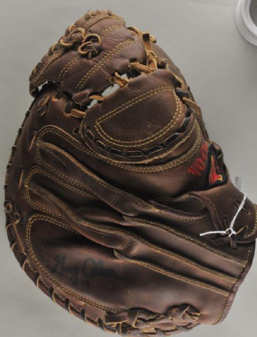 Signed Game Used Greg Olson Baseball Glove - 5