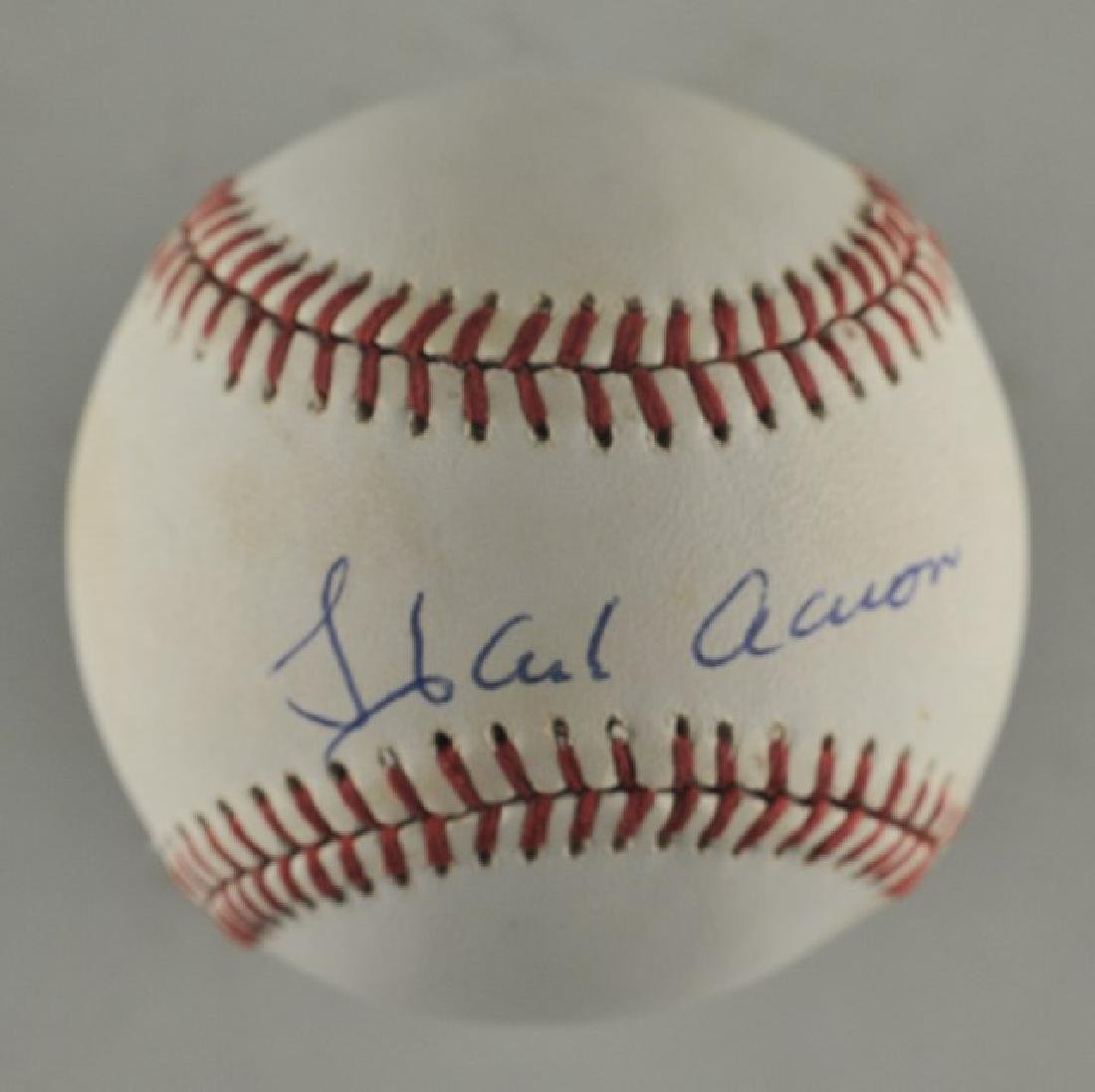 Signed Hank Aaron Baseball