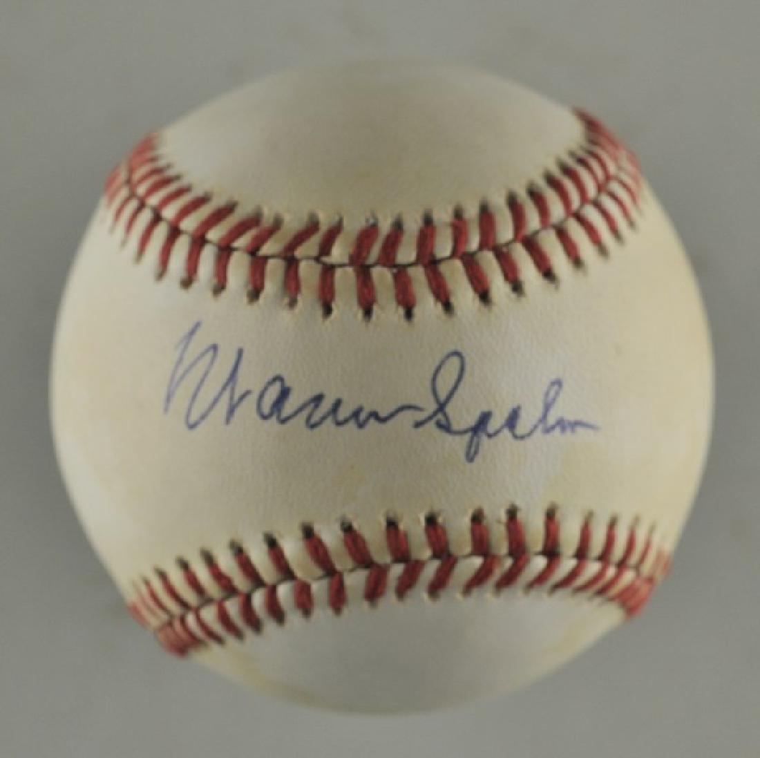 Signed Warren Spahn Baseball