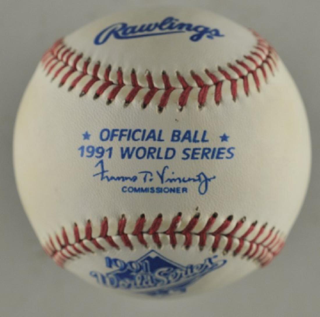 Signed 1991 Atl Braves World Series Baseball - 3