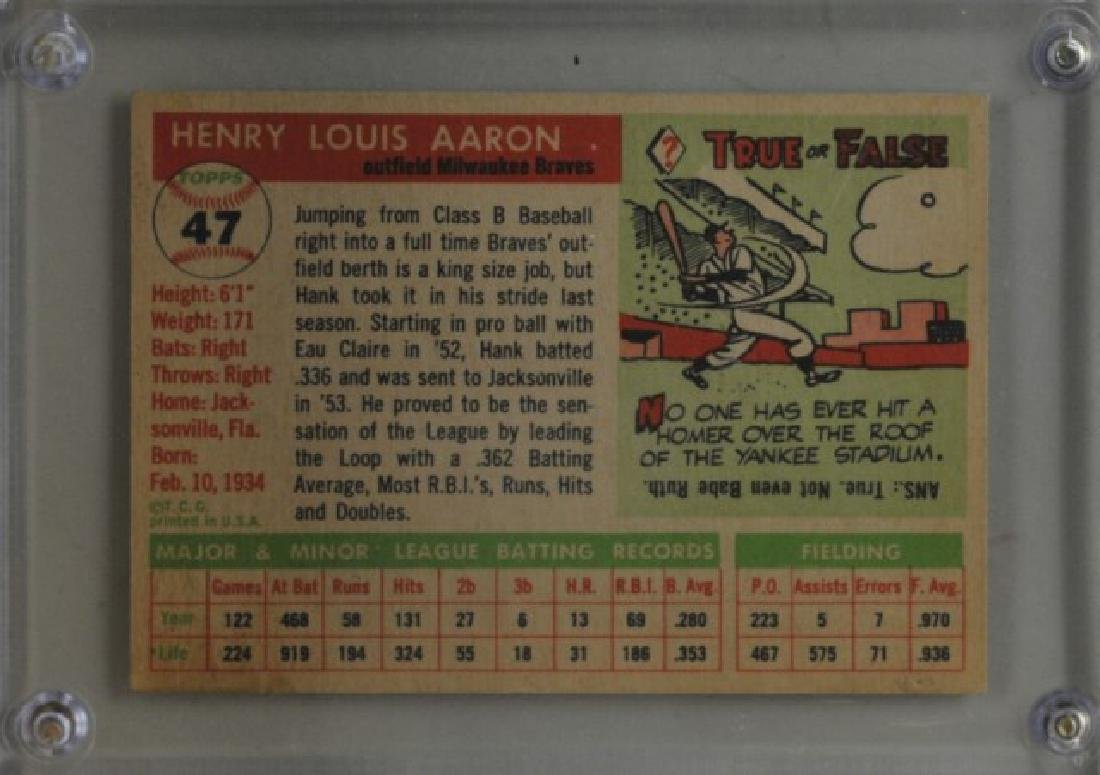 1955 Hank Aaron Topps #47 Baseball Card - 2