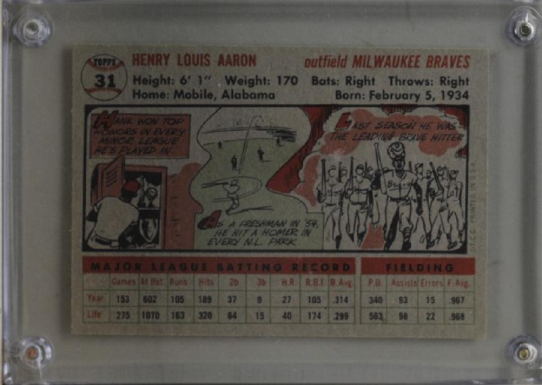 1956 Hank Aaron Topps #31 Baseball Card - 2
