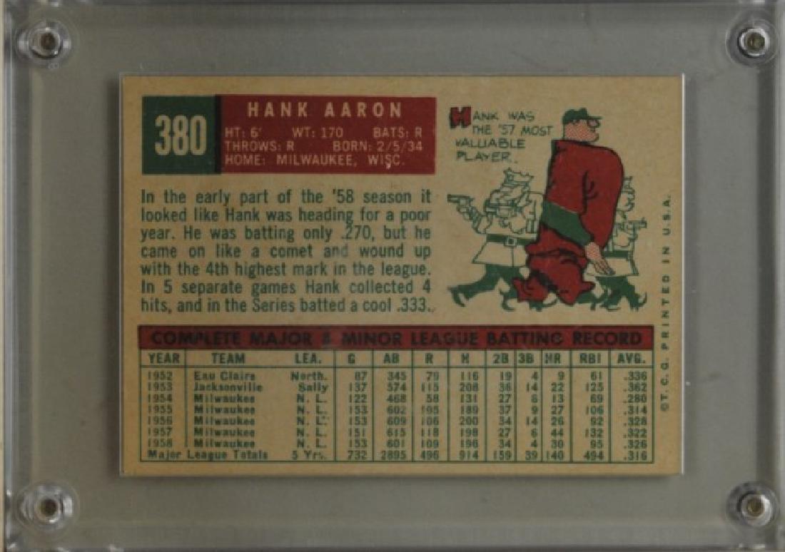 1959 Hank Aaron Topps #380 Baseball Card - 2