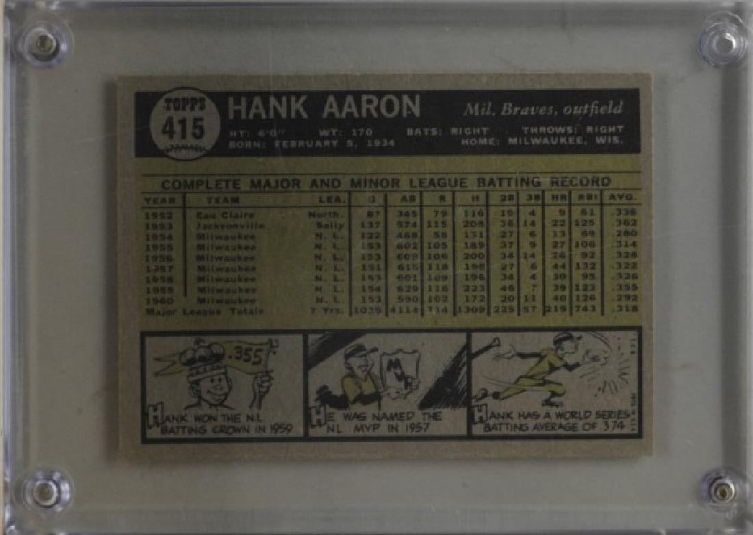 1961 Hank Aaron Topps #415 Baseball Card - 2