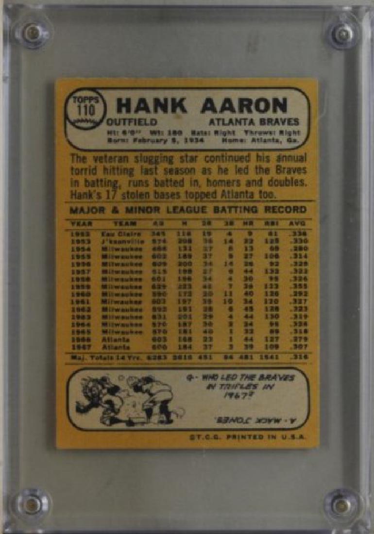 1968 Hank Aaron Topps #110 Baseball Card - 2