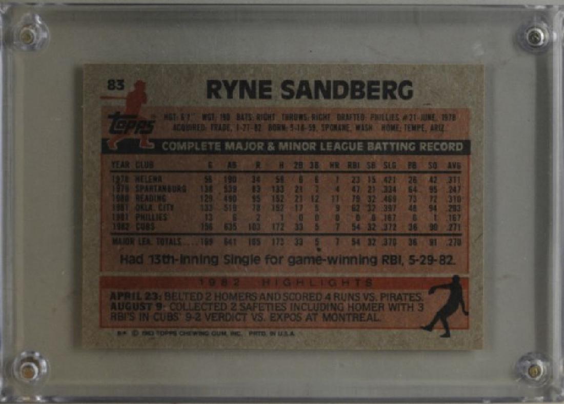 1983 Ryne Sandberg Topps Baseball Card - 2