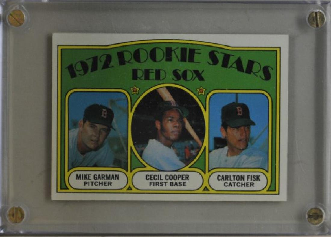 Mike Garman, Cecil Cooper, Carlton Fisk Topps Card