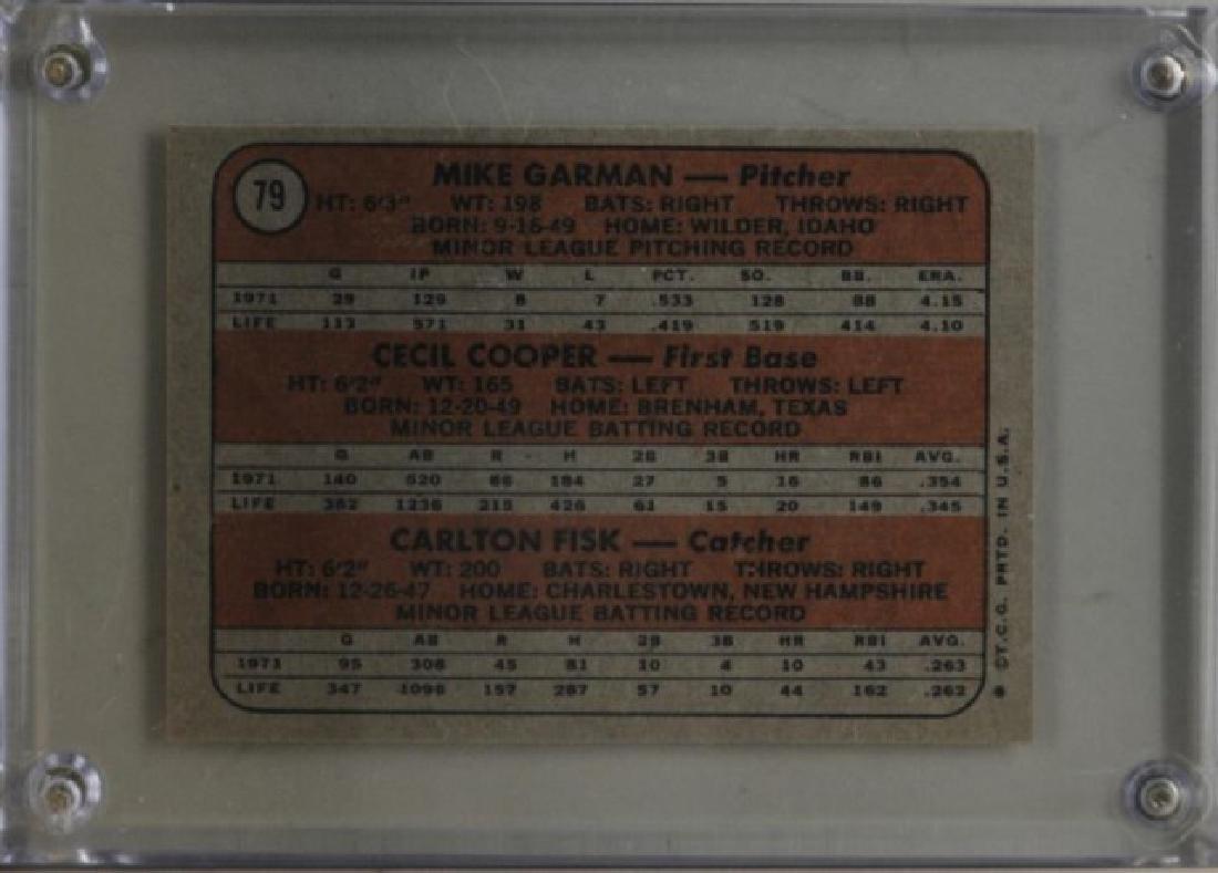 Mike Garman, Cecil Cooper, Carlton Fisk Topps Card - 2