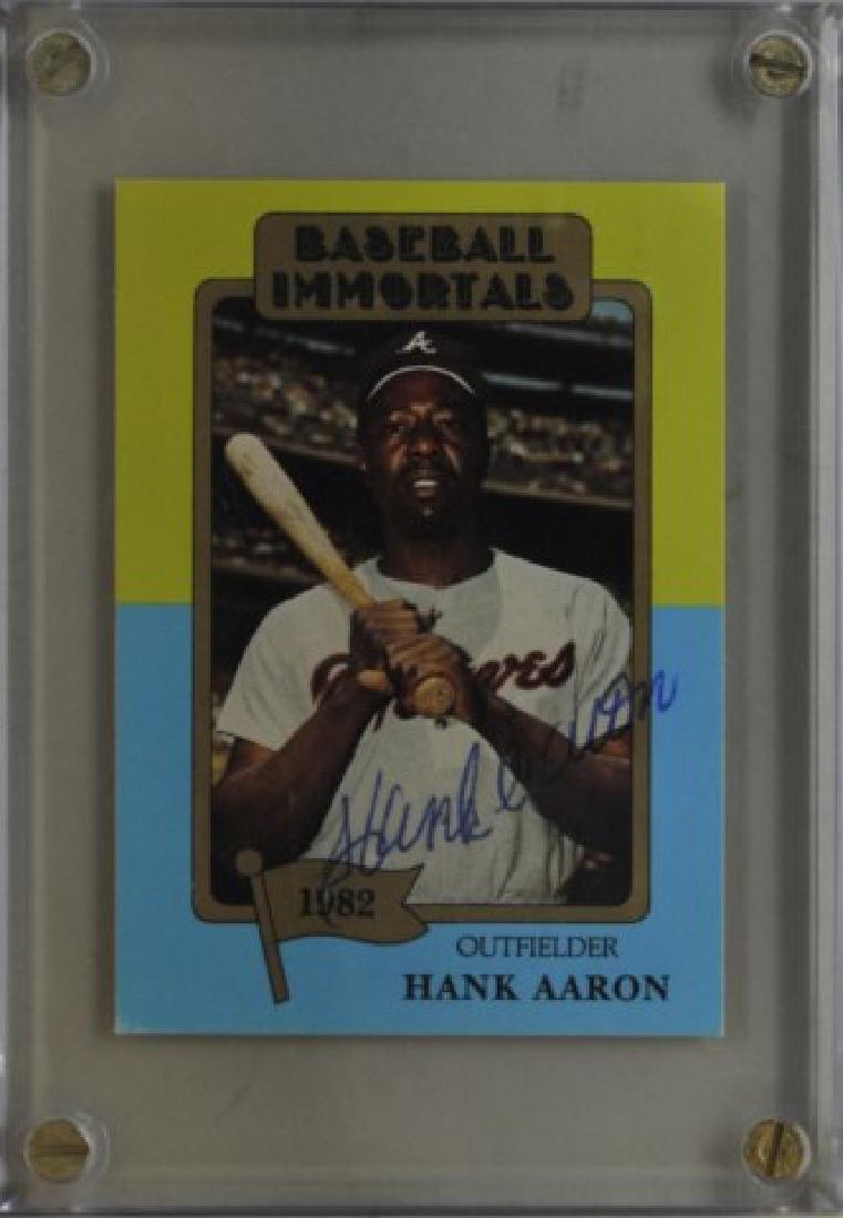 Signed Hank Aaron Baseball Immortals Card