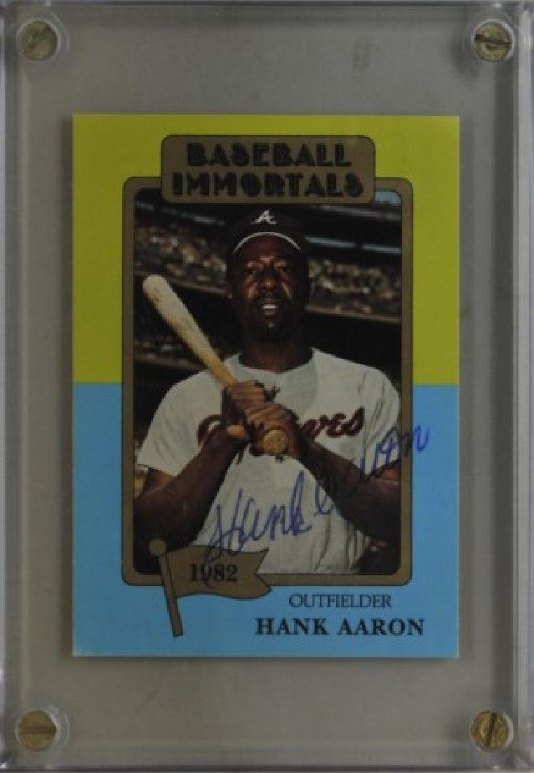 Signed Hank Aaron Baseball Immortals Card