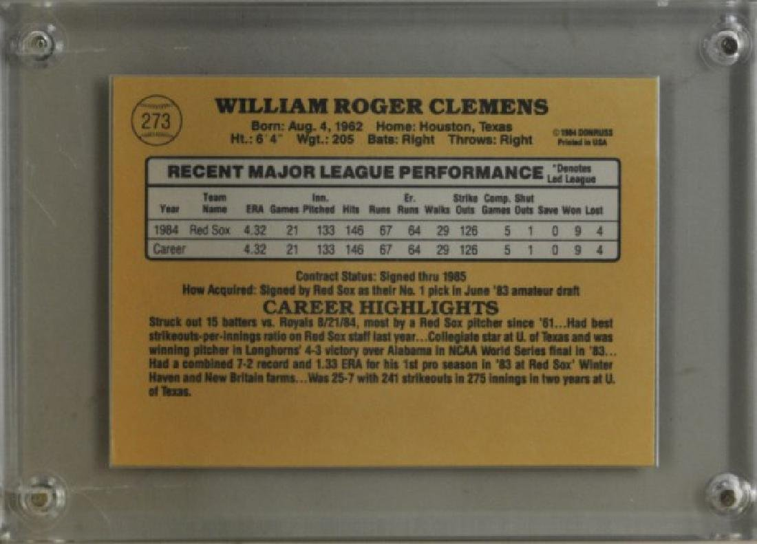 1985 Roger Clemens Donruss Baseball Card - 2