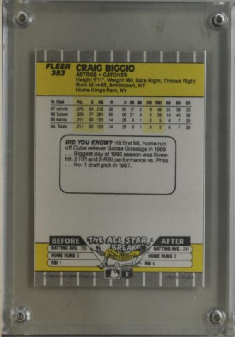 1989 Craig Biggio Fleer Baseball Card - 2