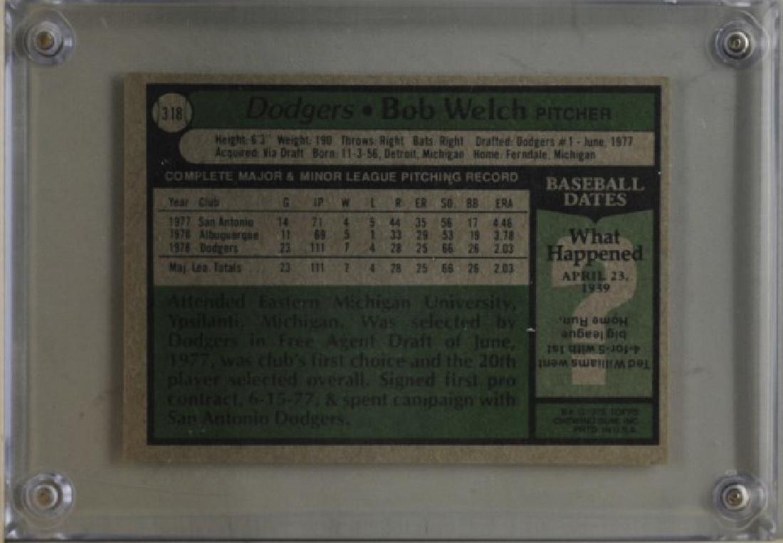 1979 Bob Welch Topps Baseball Card - 2