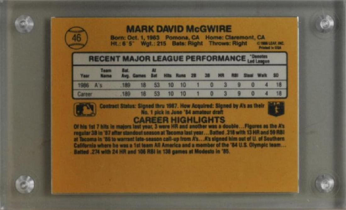 1987 Mark McGwire Donruss Baseball Card, No. 46 - 2