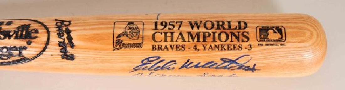 1957 Champions Signed Spahn, Aaron, Mathews Bat - 2