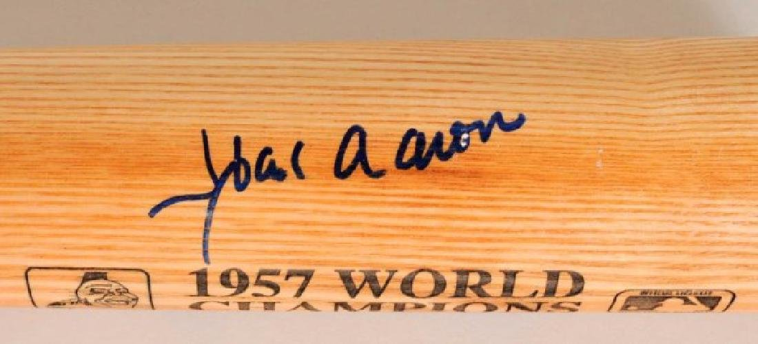 1957 Champions Signed Spahn, Aaron, Mathews Bat - 4