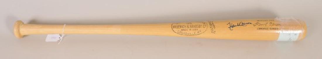 Signed Hank Aaron Bat w/ Ticket