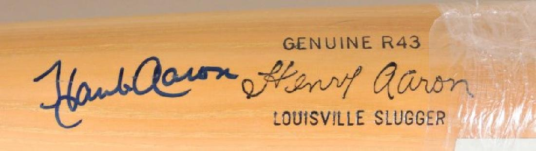 Signed Hank Aaron Bat w/ Ticket - 2