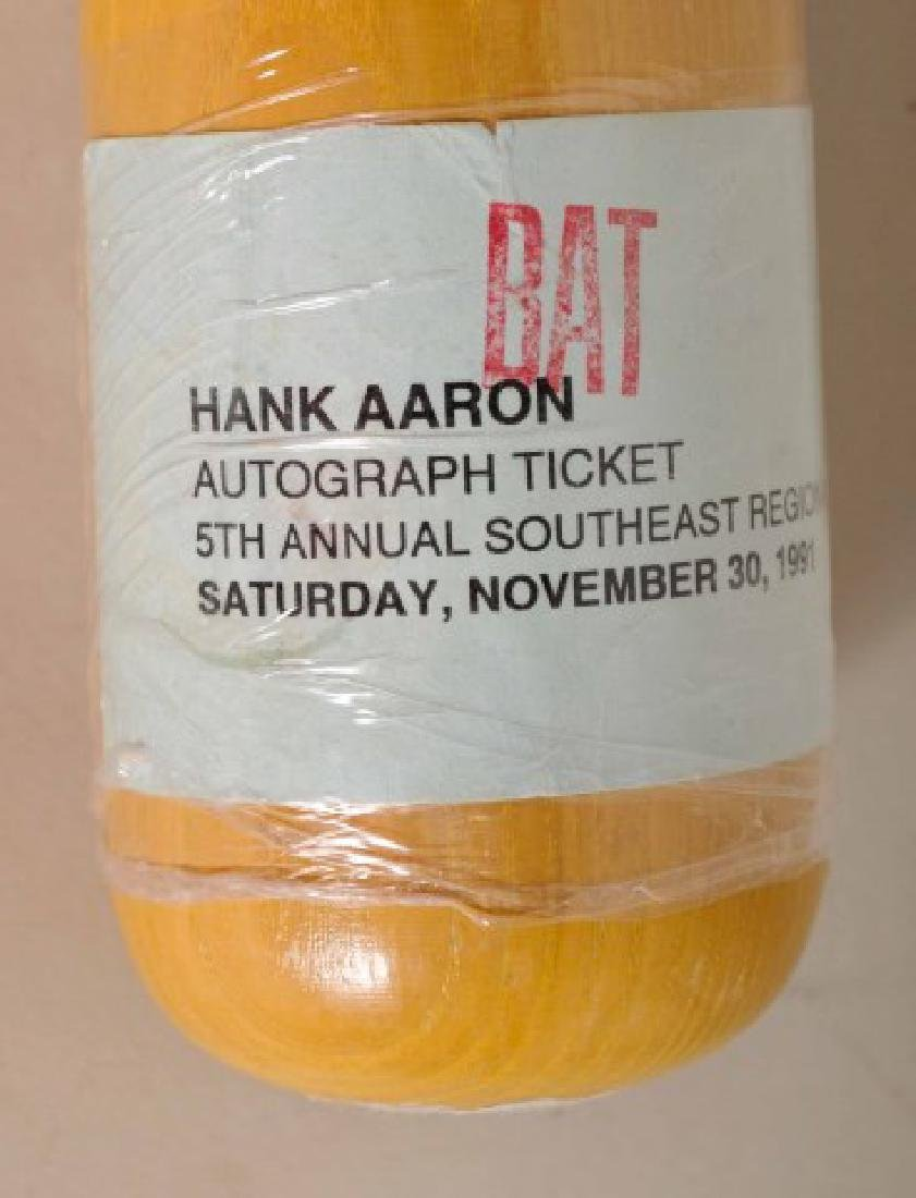 Signed Hank Aaron Bat w/ Ticket - 5