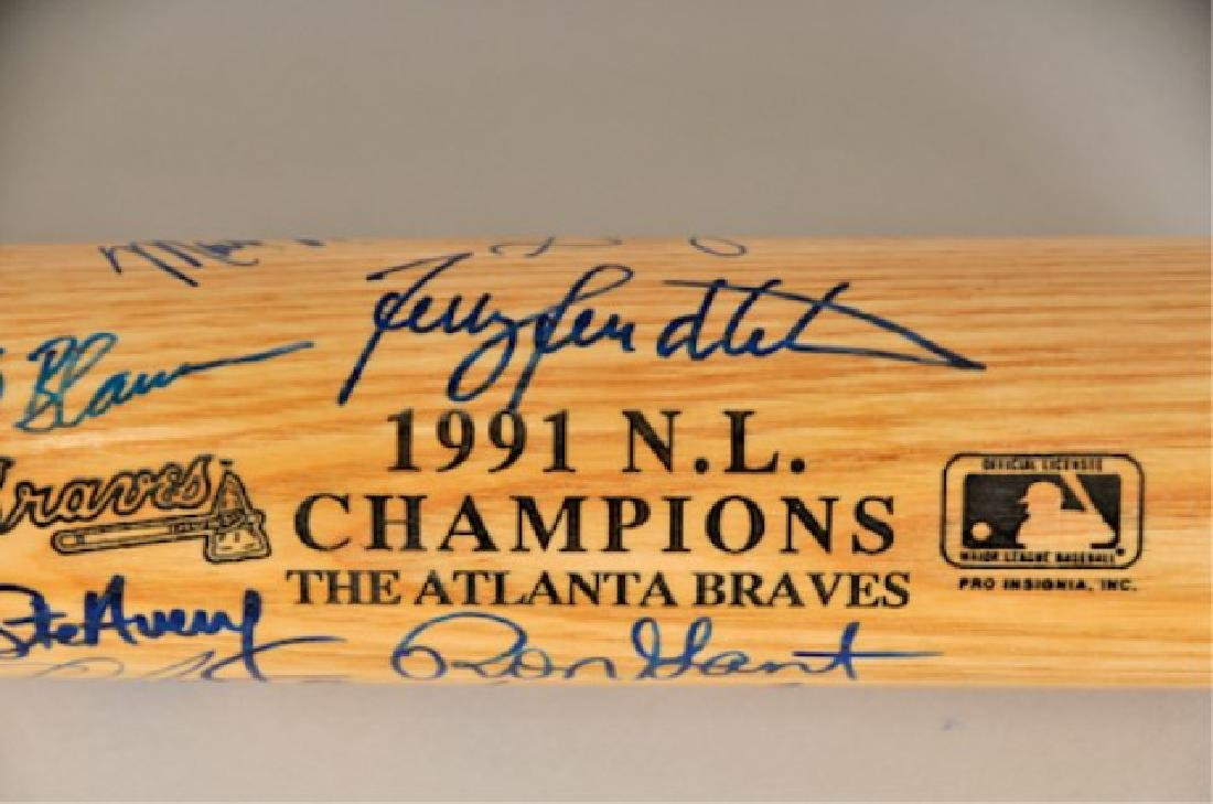 Signed 1991 NL Champs Atlanta Braves Bat - 2