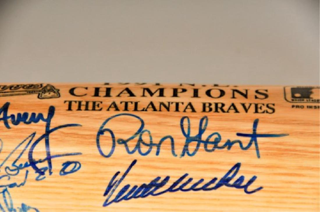 Signed 1991 NL Champs Atlanta Braves Bat - 5