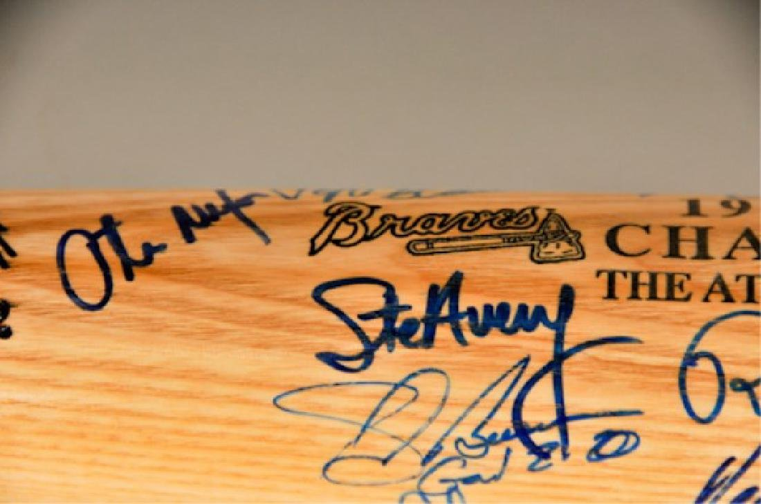 Signed 1991 NL Champs Atlanta Braves Bat - 6