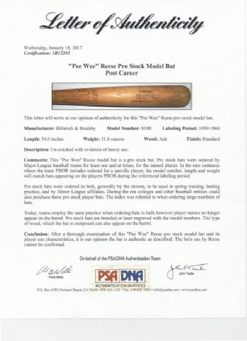 PSA -Authenticated Pee Wee Reese Game Used Bat - 8